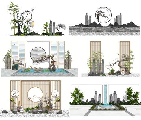 新中式景观小品 景墙 栓马柱
