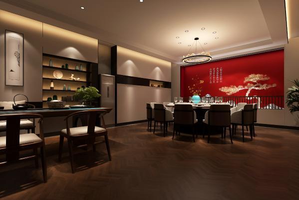 新中式餐厅包厢 吊灯 挂画