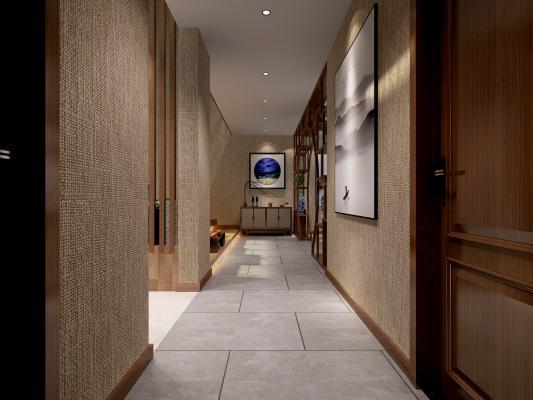 新中式玄關 掛畫 過道 閣樓 茶室 書房