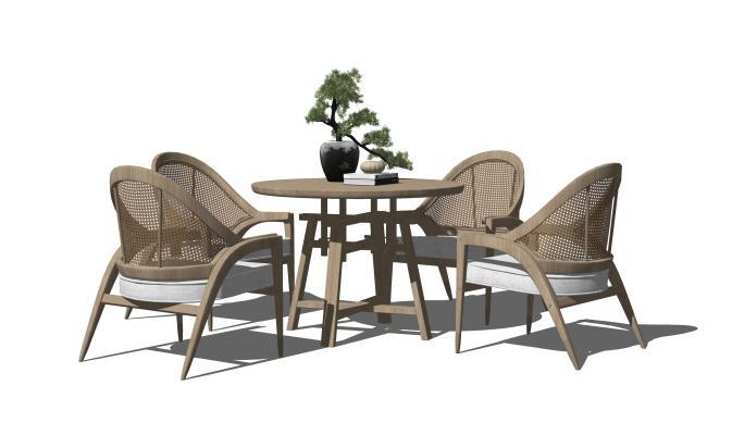 新中式休闲桌椅 餐旧椅 藤编休闲椅