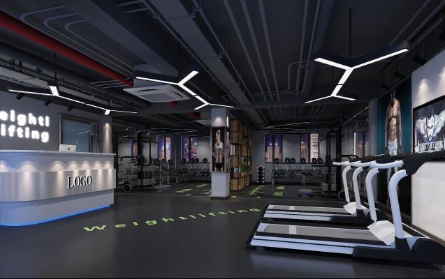 工业风健身房前台 力量区 休闲区