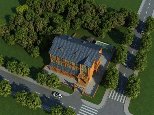 现代酒店外观鸟瞰规划 宾馆 别墅