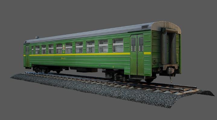现代老式绿皮火车