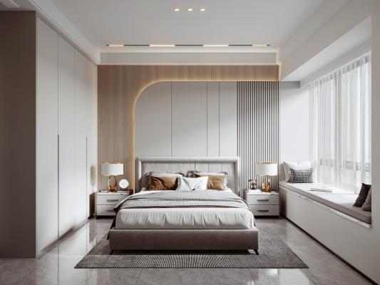 现代简约主人房,现代轻奢卧室,布艺双人床头柜组合,卧室飘窗软垫抱枕组合