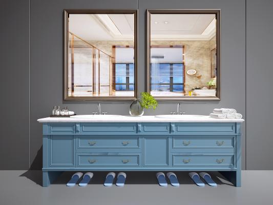 美式洗手台 美式卫浴柜 美式洗脸池 地中海风卫浴柜