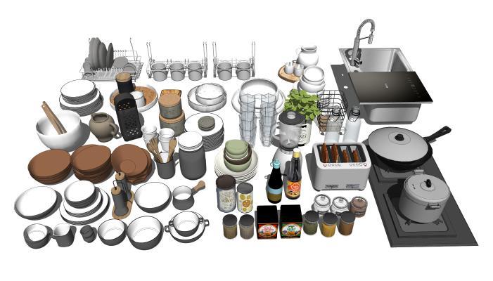现代餐具组合 碗碟 洗菜盆 灶台