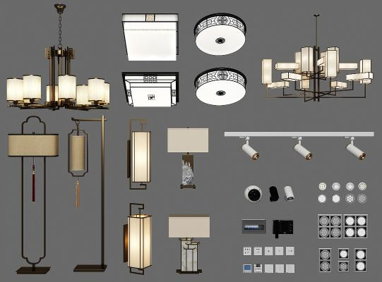新中式吊灯壁灯落地灯吸顶灯组合