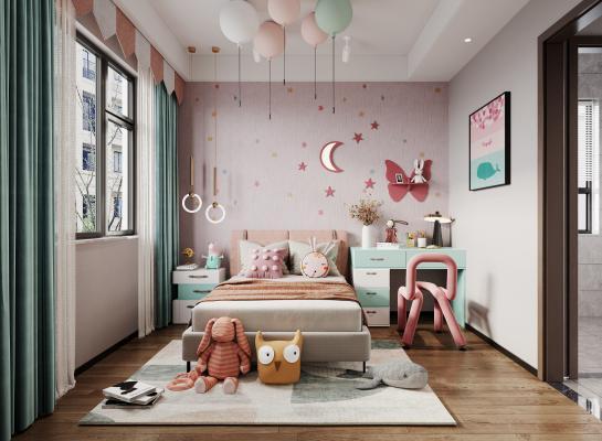现代女孩房 儿童房