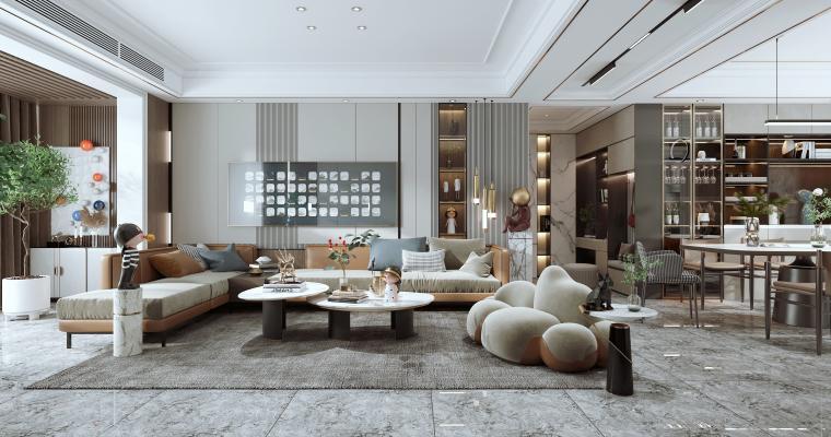 现代客餐厅 沙发茶几组合 餐桌椅