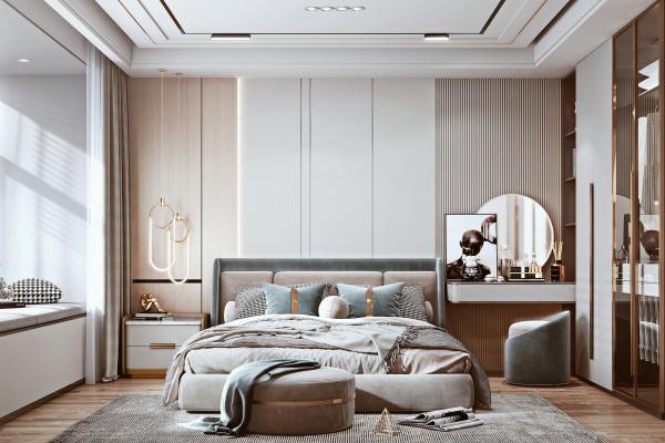 现代卧室 布艺双人床 床头柜