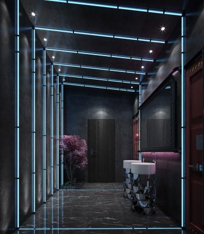 后现代科技感酒吧 卫生间 灯带