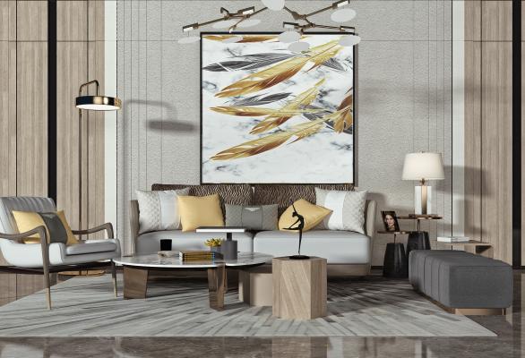 现代客厅 双人沙发 茶几
