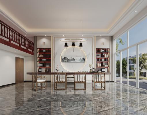 新中式别墅茶室、泡茶区