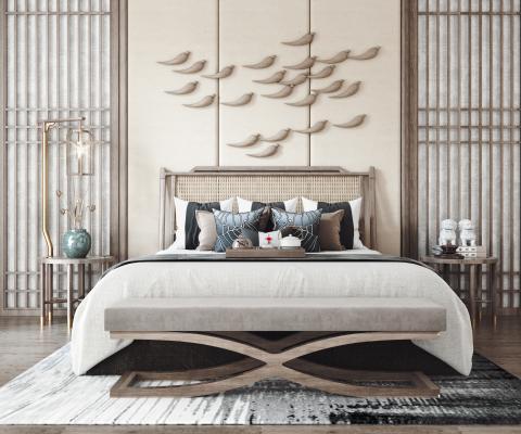 新中式双人床组合 床头柜架