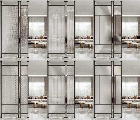 现代玻璃屏风隔断组合 窄框玻璃隔断 长虹玻璃 办公室玻璃
