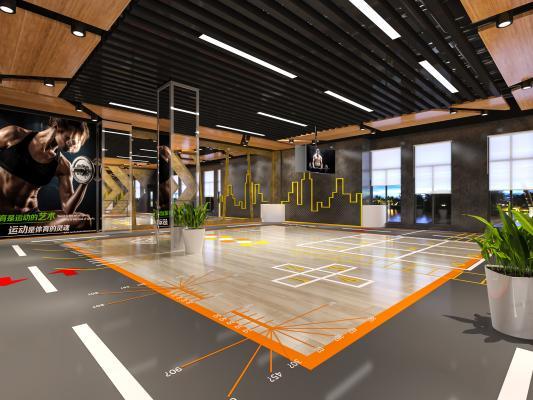 工业风健身房 健身会所 健身器材私教区
