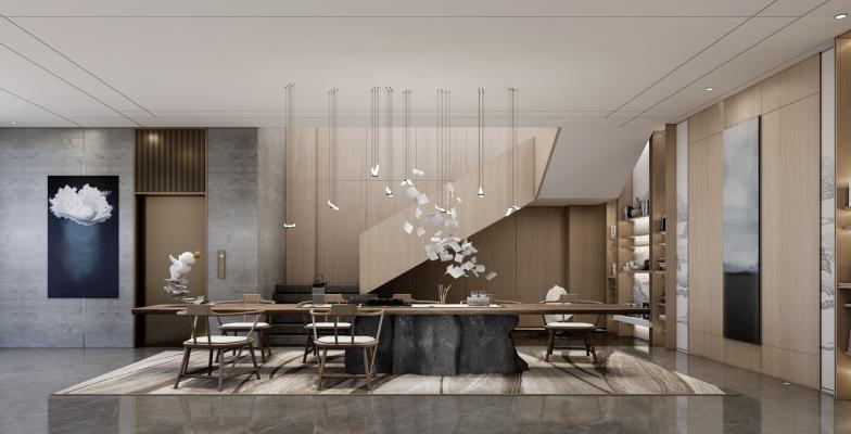 新中式别墅地下茶室