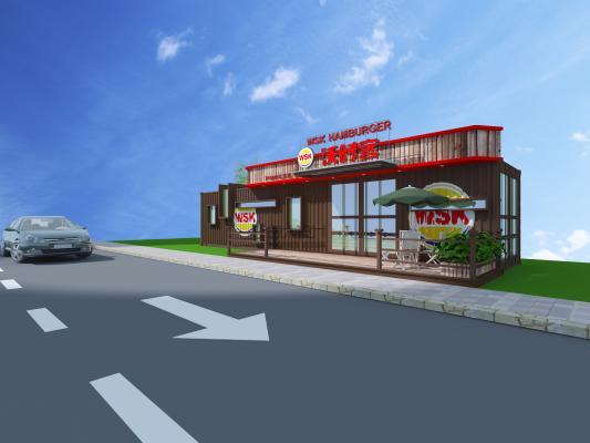 现代集装箱快餐店 汉堡店 个性餐厅