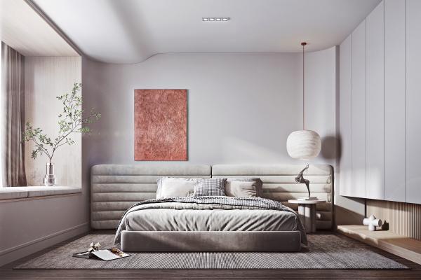 现代卧室 双人床 衣柜