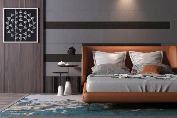 现代轻奢双人床组合 墩子 床头柜