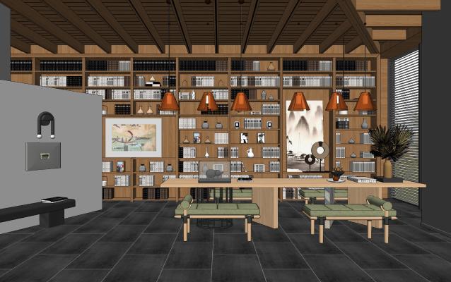 新中式图书馆内部 书吧阅读区 阅览区桌椅