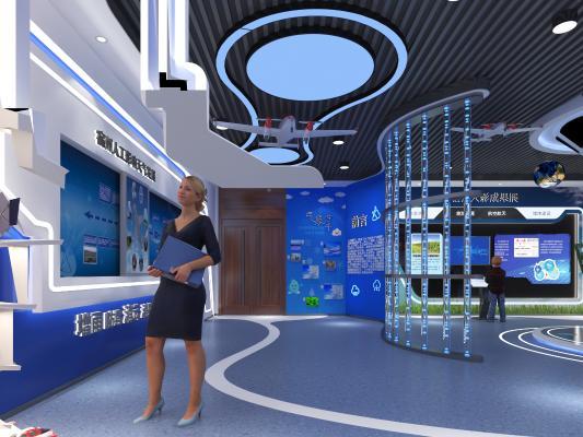 现代科技展厅 展柜 人