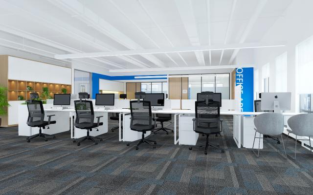 現代敞開式辦公室 書柜 辦公桌椅