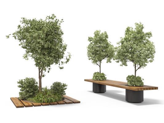 現代盆栽綠植 長椅