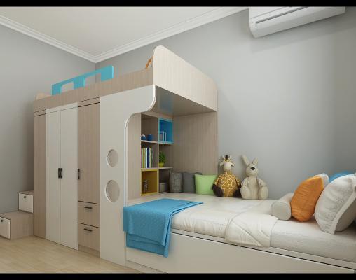 现代儿童房 高低床