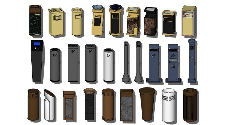 现代垃圾桶 垃圾箱 灭烟器