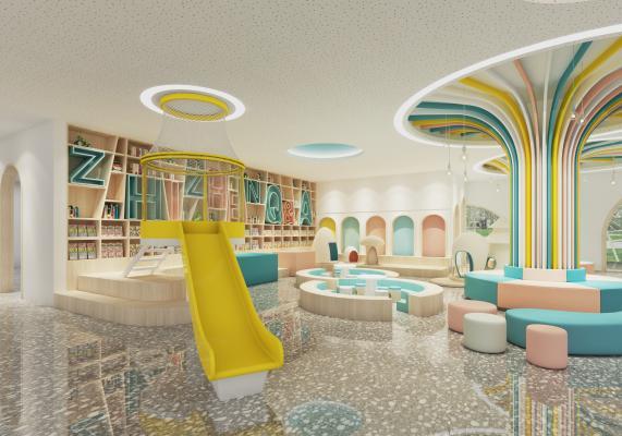 现代风格幼儿园 阅读室 图书馆