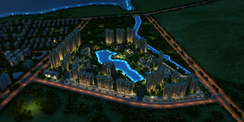 现代城市规划鸟瞰夜景 商业街 商业广场