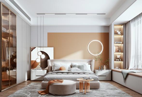 現代臥室 布藝雙人床 衣柜