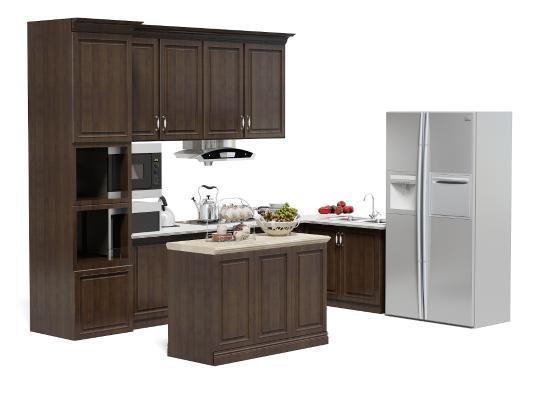 現代廚房櫥柜 中島柜 冰箱