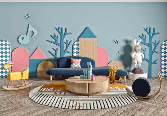 北欧风格沙发茶几 组合沙发 儿童玩具