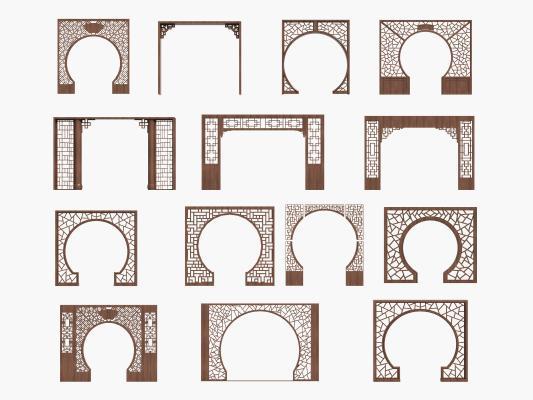 中式月亮门 拱门 月洞门