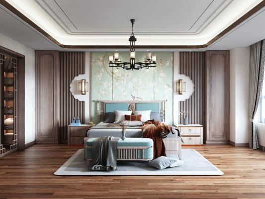 新中式主卧室 背景墙 床头柜