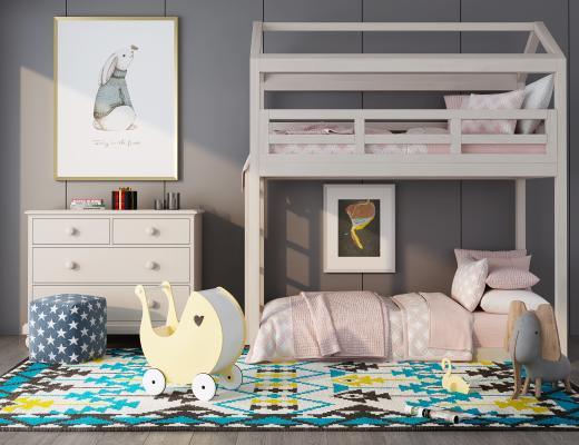 北欧儿童房 卧室 家具组合