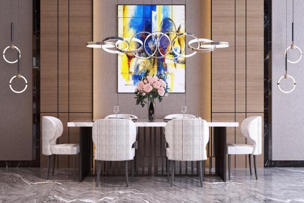 现代餐桌椅组合 金属吊灯 装饰挂画