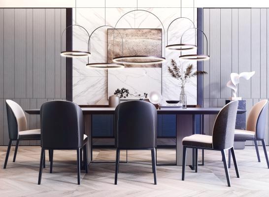 现代餐桌餐椅组合 吊灯组合 边柜