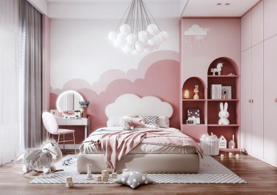 现代风格女孩房 儿童床 梳妆台