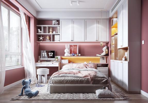 北欧风格儿童房 女孩房 儿童床 书桌