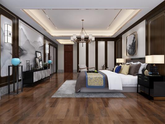 新中式主卧室 床头柜 台灯