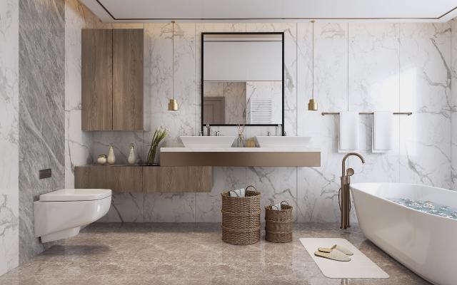 现代卫生间 独立浴缸