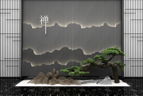 新中式园艺小品松树假山背景墙