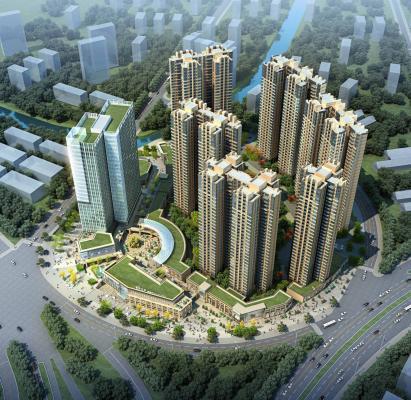 现代高层商业住宅小区 酒店办公楼 建筑外观