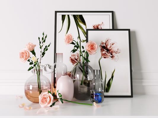 北欧家居金属玻璃花瓶摆件 透明创意水培客厅装饰 干花插花