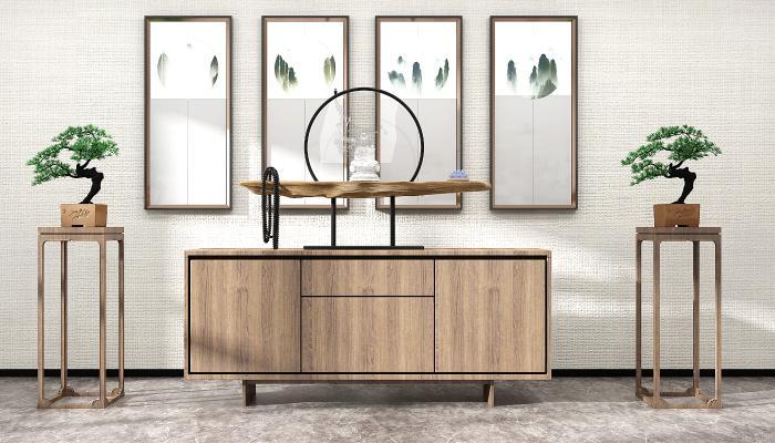 中式實木邊柜盆栽裝飾畫,掛畫擺件組合