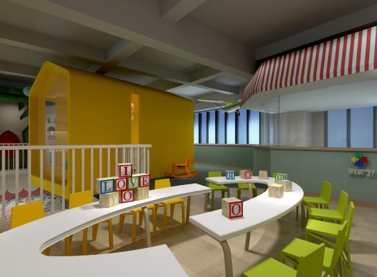 现代幼儿园桌椅玩具摆件雨棚组合