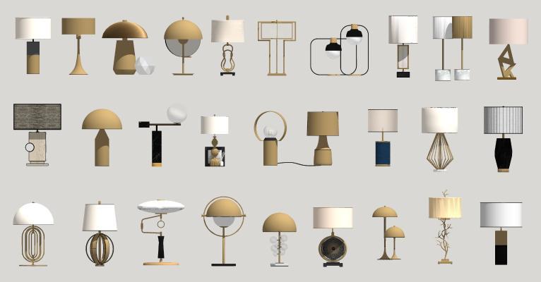现代轻奢金属台灯组合
